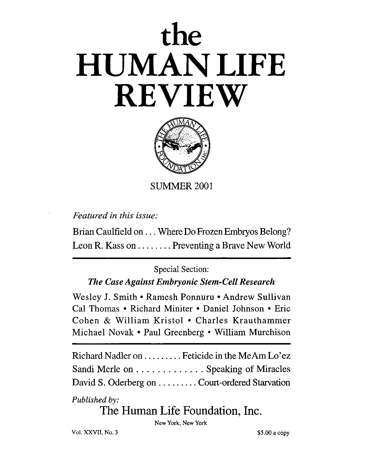 The human life review summer 2001 the human life review page 1 malvernweather Choice Image